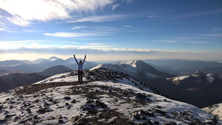 Maureen at the top of Grays Peak.