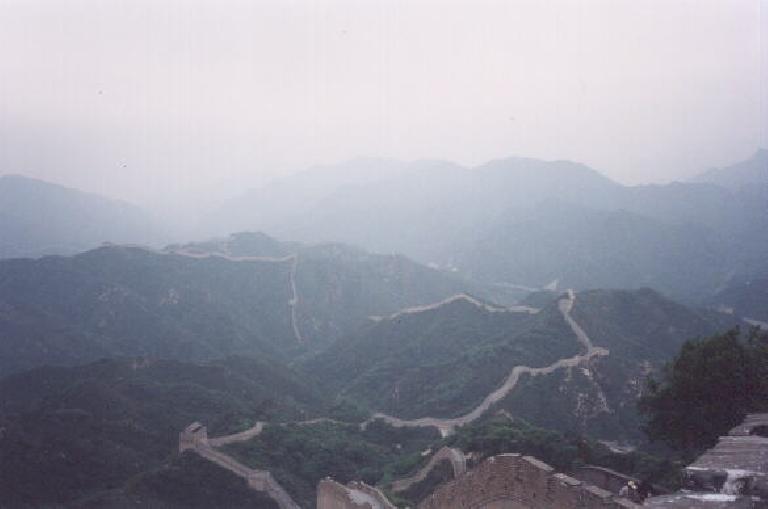 The view below after climbing the Great Wall of China at Badaling.