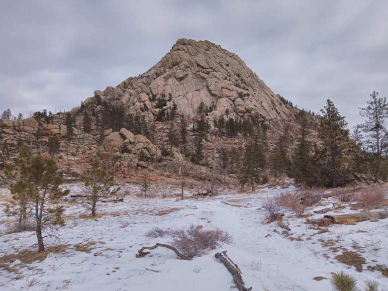 snow and trees in front of the southern face of Greyrock