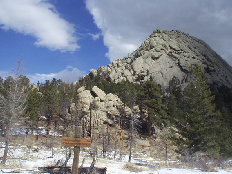 After hiking about 2.5 miles we made it to Greyrock Mountain, which is a popular site for rock climbing (though not on this March day).