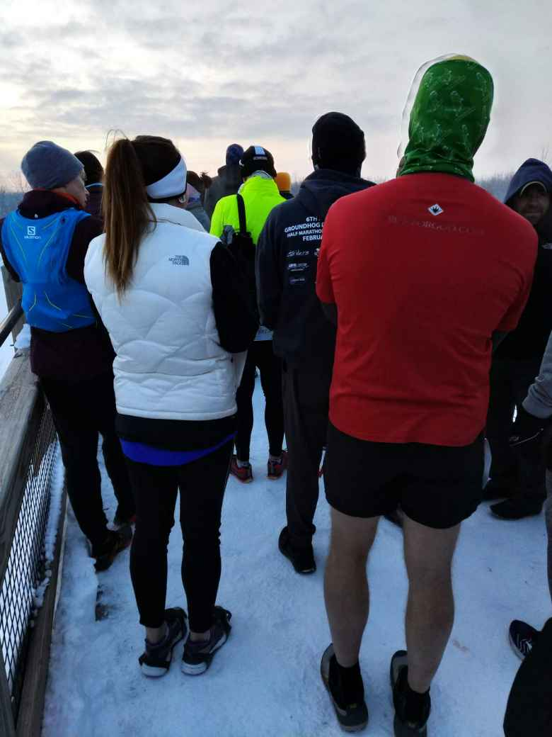 There was at least one guy wearing shorts despite the temperatures being around 13F at the start of the 2019 Groundhog Day Marathon.