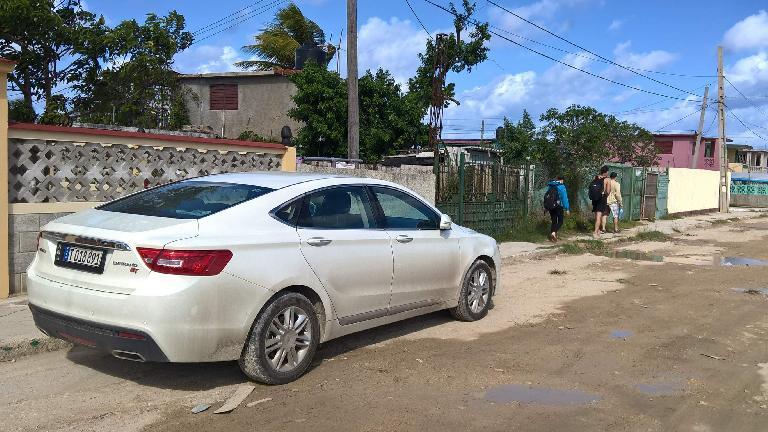 A newish Geeley Emgrand sedan in Guanabo, Cuba.