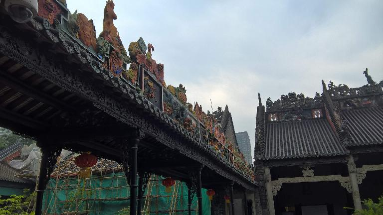 Exquisite rooftops at the Chen Clan Ancestral Hall in Guangzhou, China. (April 22, 2016)