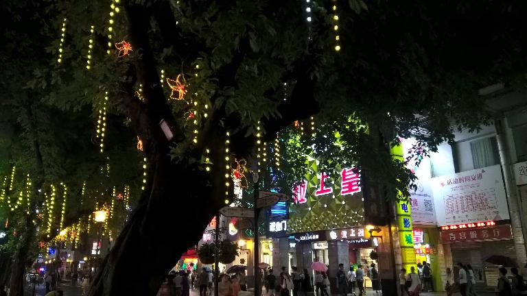 Strips of lights dangling off trees on the pedestrian shopping street of Lianxin Rd. in Guangzhou, China. (April 22, 2016)