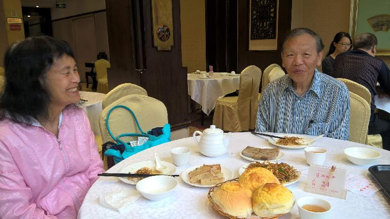 My mom and dad (and I) having dim sum at Tao Tao Ju Restaurant in Guangzhou, China, where his dad once took him for breakfast when he was a kid. (April 23, 2016)