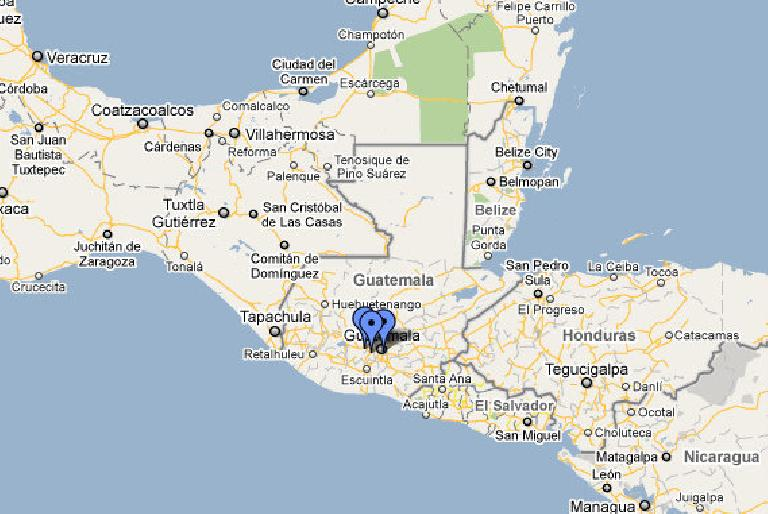 "Where I'll be (signified by the blue dots) during my volunteering ""vacation"" in Guatemala. (Image: Google Maps)"