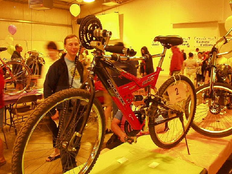 A hand- and leg-driven mountain bike created by someone in his garage.