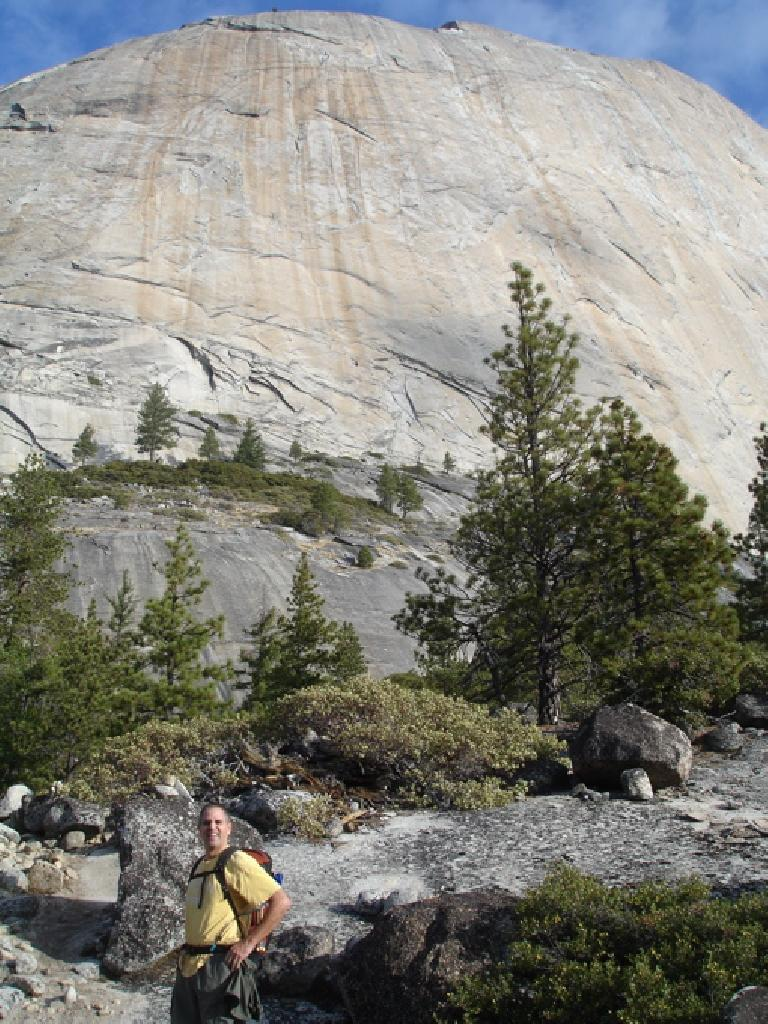 Dave in front of Half Dome.  We had some problems finding our way to Snake Dike from here...