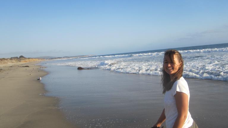Katia on the beach.