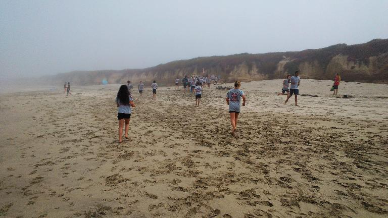 A Boot Camp for teens on the beach of Half Moon Bay.