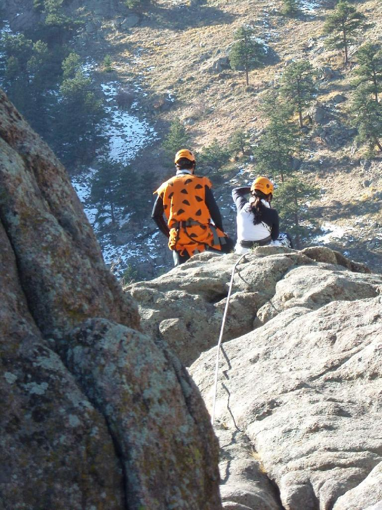 Fred Flintstone at the rappel station.