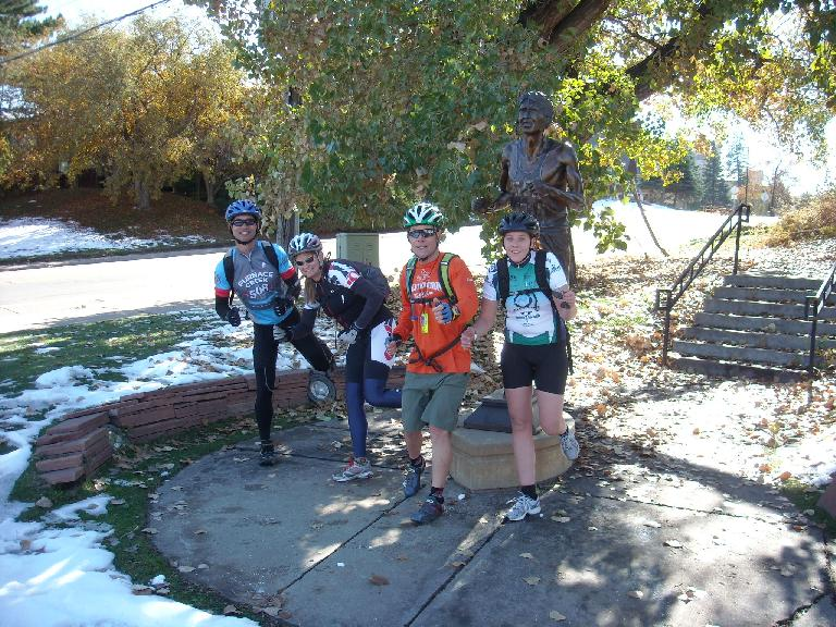 Felix, Jen, Eddie and Kelly with the Frank Shorter statue in Boulder.