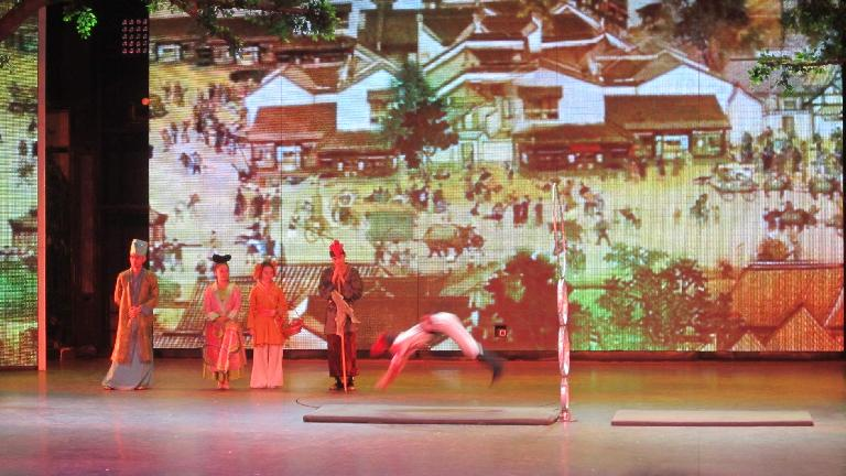 Acrobats in a West Lake night show.