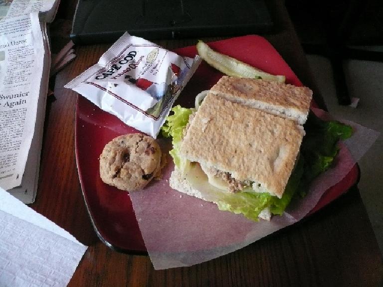 I had a tuna sandwich at Jojo's Coffee House.