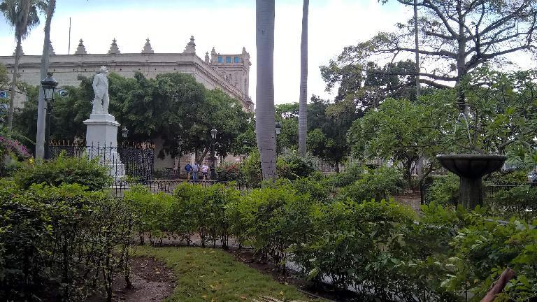 Parque Céspedes near Plaza de Armas, with a white marble statue of Carlos Manuel de Céspedes.