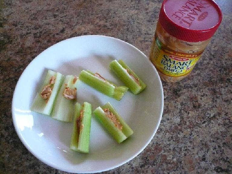 Celery stalks with omega-3-enhanced peanut butter.  Another nice snack.