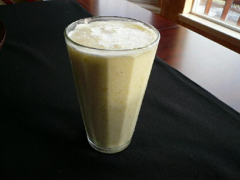 A smoothie I used to make a lot: ice, one pear, an organic brown egg, and a quarter-cup of milk.