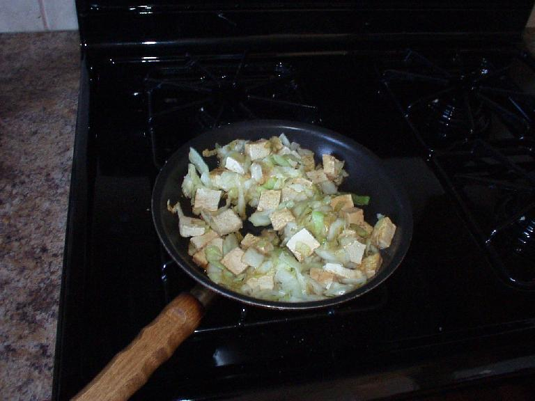 Cabbage and tofu.