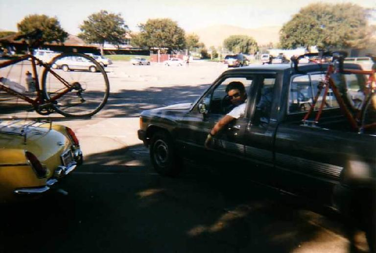 Ken Loo and his Toyota pickup truck and red Cannondale, 1996 Hekaton Classic