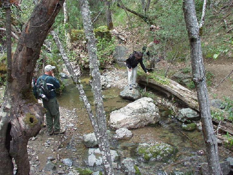 Marianne crossing a creek.