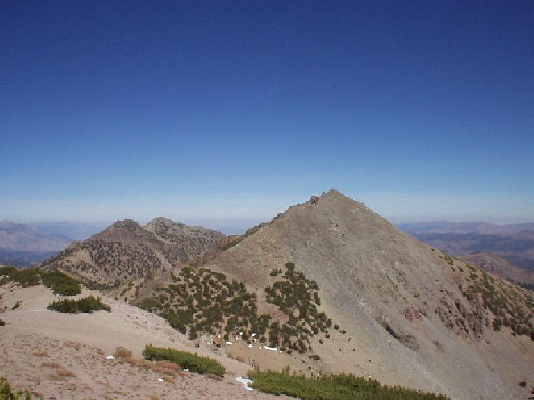 12:40 p.m.: The view of Highland Peak, from the top of Peak 10824.