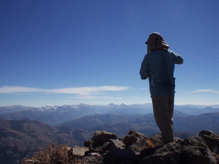 12:49pm: Adam enjoying the views to the east (including Sonora and Stanislaus Peaks) on top of Peak 10824.