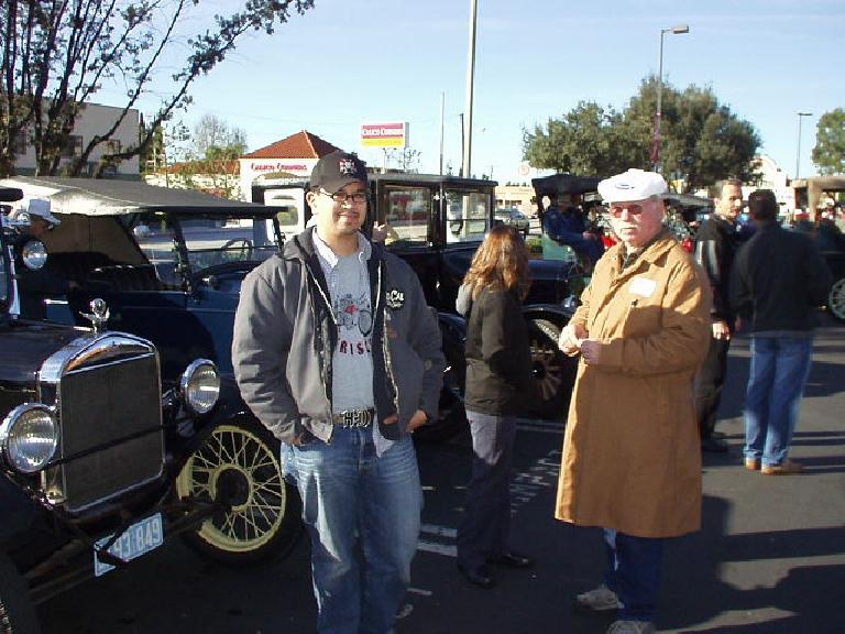 Here's Allen and Robert in front of the cars.  They had braved frigid 40-degree temps in the early morning to get the Model T over here.