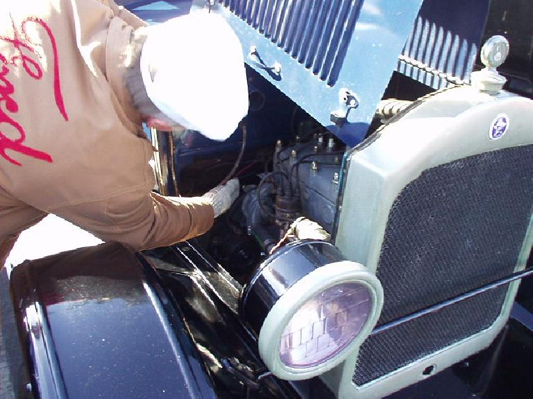 Right off the bat, we had our first (and only) car issue of the day: the Star's starter switch on the floor wasn't working!  Here's Robert inspecting the switch. Ultimately, we just push-started the car, and somehow the switch worked the rest of the day.