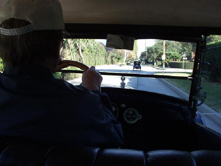 After lunch we continued on to an enthusiast's home for dessert.  This depicts the view from the back seat, with Joe kindly driving us.