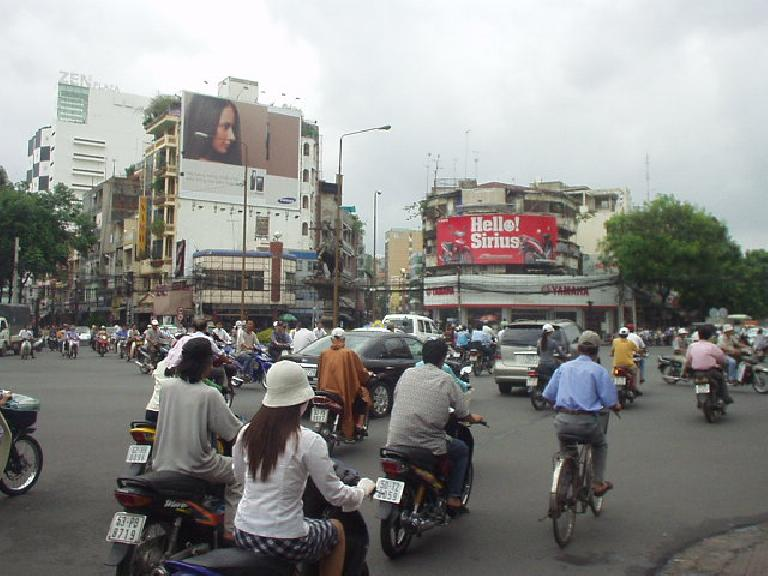 Chaos seems to reign in all intersections in Saigon, but traffic moves.