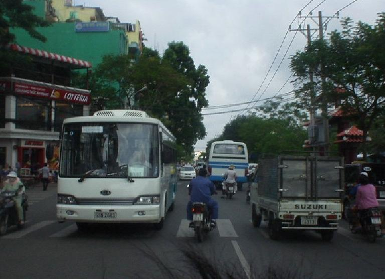 The view from the back of a motorbike.  Note the proximity to other vehicles!
