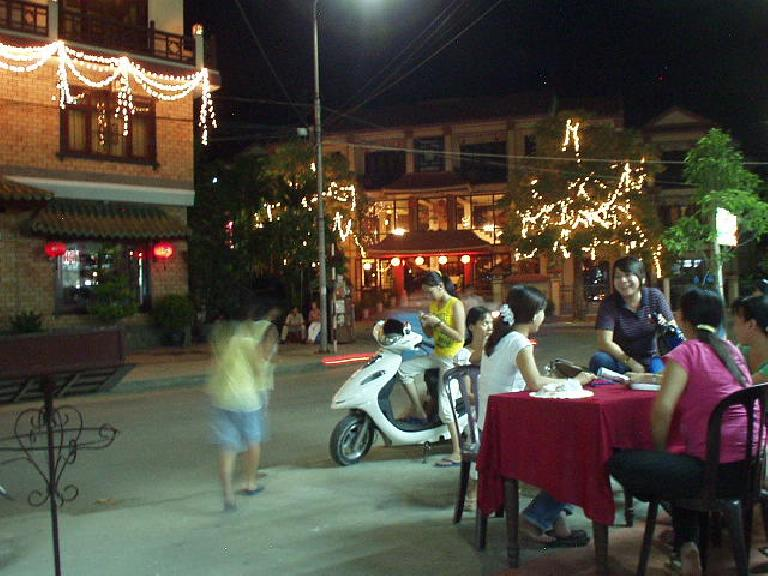 Dining al fresco at night in Hoi An.