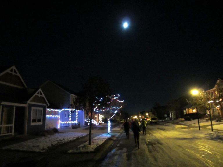 Running through the Harvest neighborhood under a full moon.