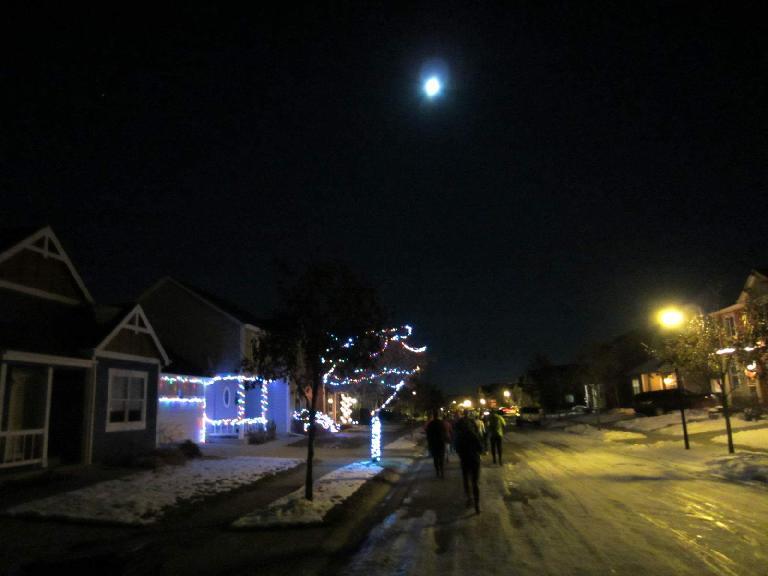 Running through the Harvest neighborhood under a full moon.