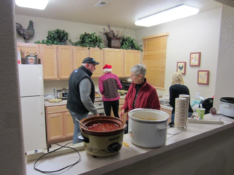 The hot food for the potluck: chili, soup, etc.