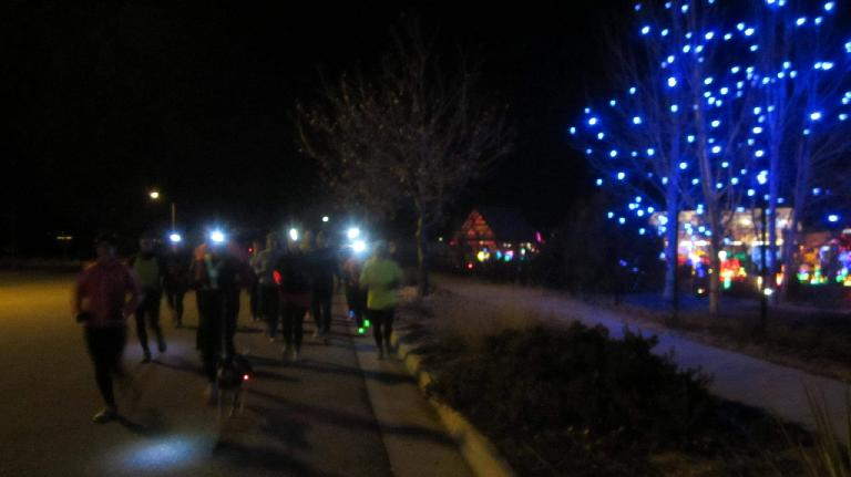 Running during the Fort Collins Running Club's Holiday Lights Run. (December 16, 2014)