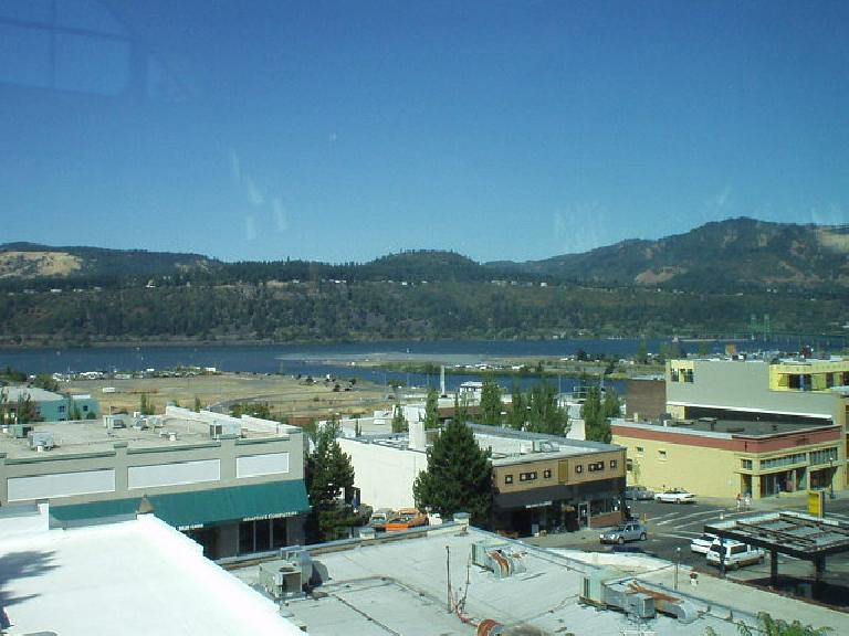 A view of downtown Hood River and the Columbia Gorge River from the window of the county library above on State Street.