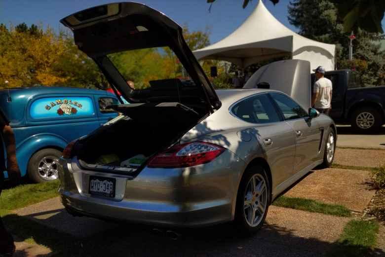 A grey Porsche Panamera.