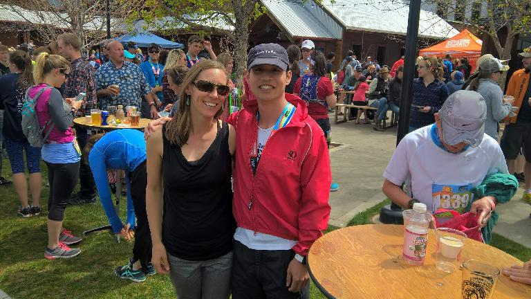 I ran into my friend Rhea at the end of the race, the first person I met in Fort Collins when I moved to Fort Collins in 2005.