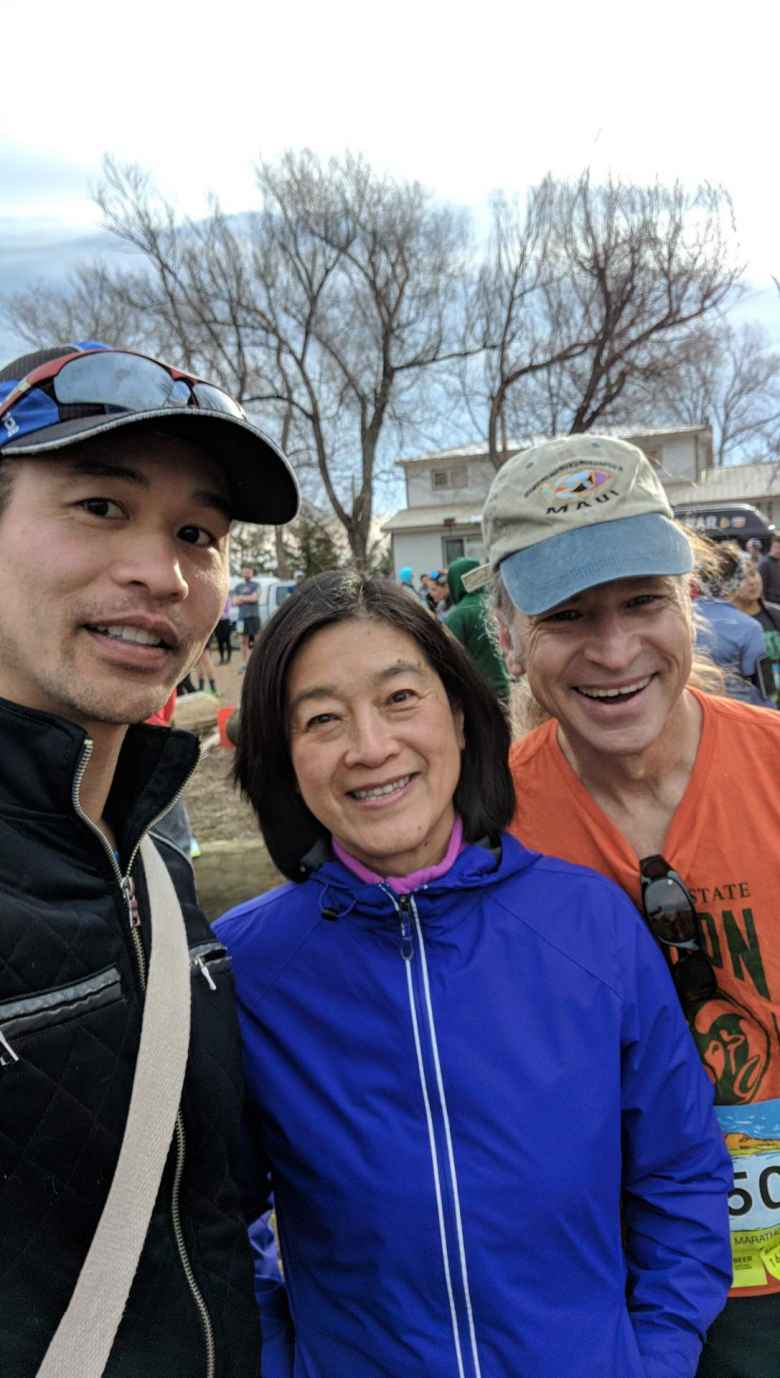 Felix and Matt with our friend Ping, who was volunteering at the start.