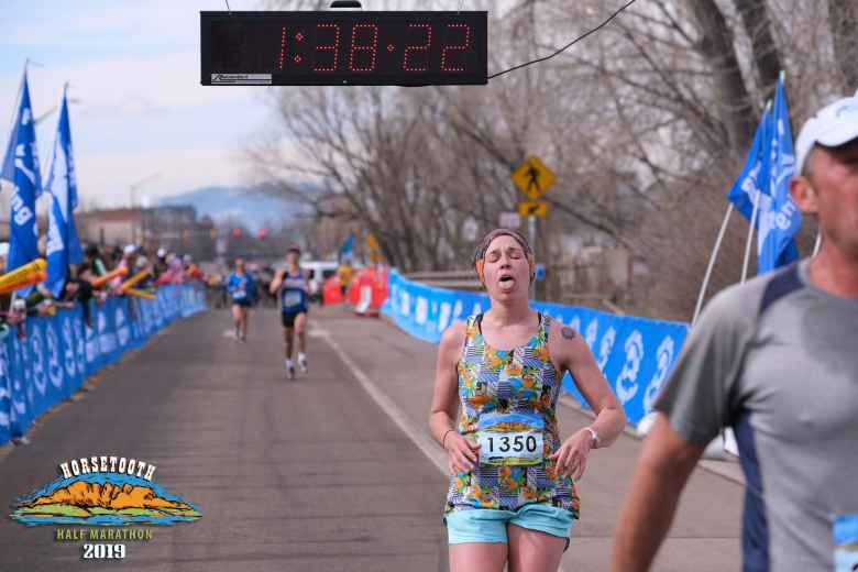 You can see me sprinting in at the finish, finishing a couple seconds behind my friend Rachel.