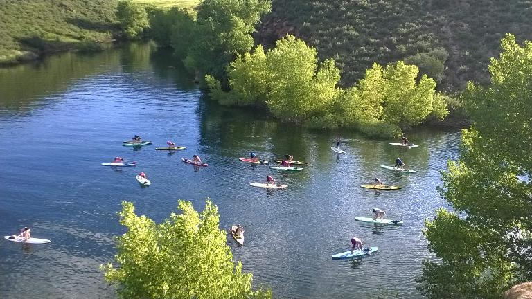 Yogis doing a downward stretch on paddleboards at Horsetooth Reservoir.