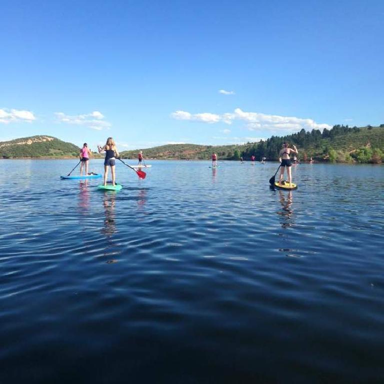 Paddleboarding at Horsetooth Reservoir.