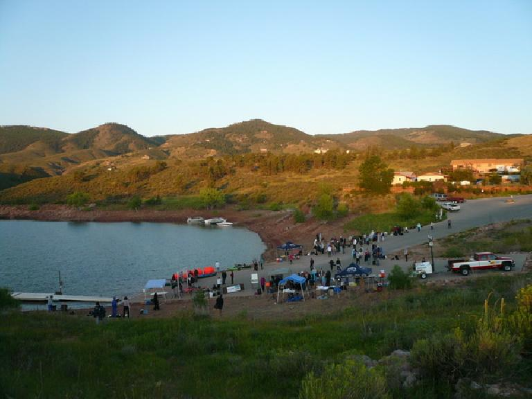 The Horsetooth 1- (and 2.4-) Mile Swim race venue.