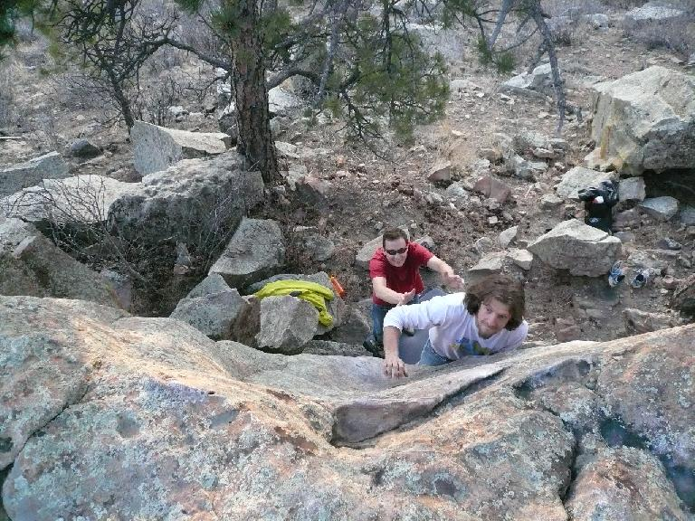 Nick giving a boulder problem a go.