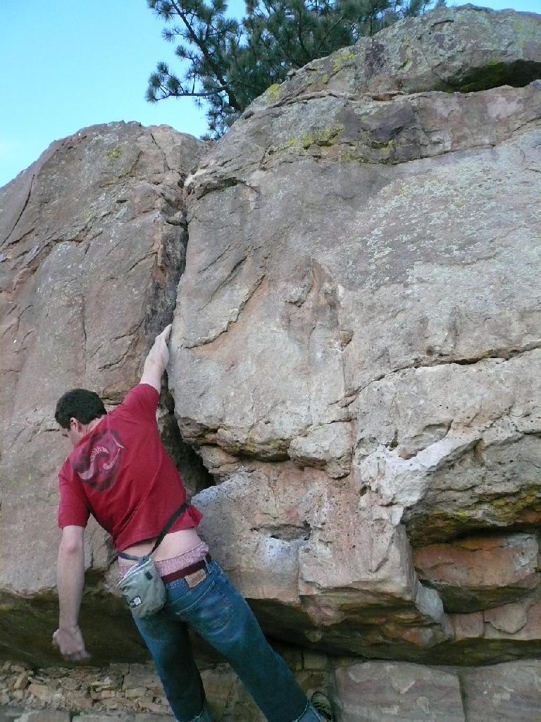 Creighton hanging off a crack.