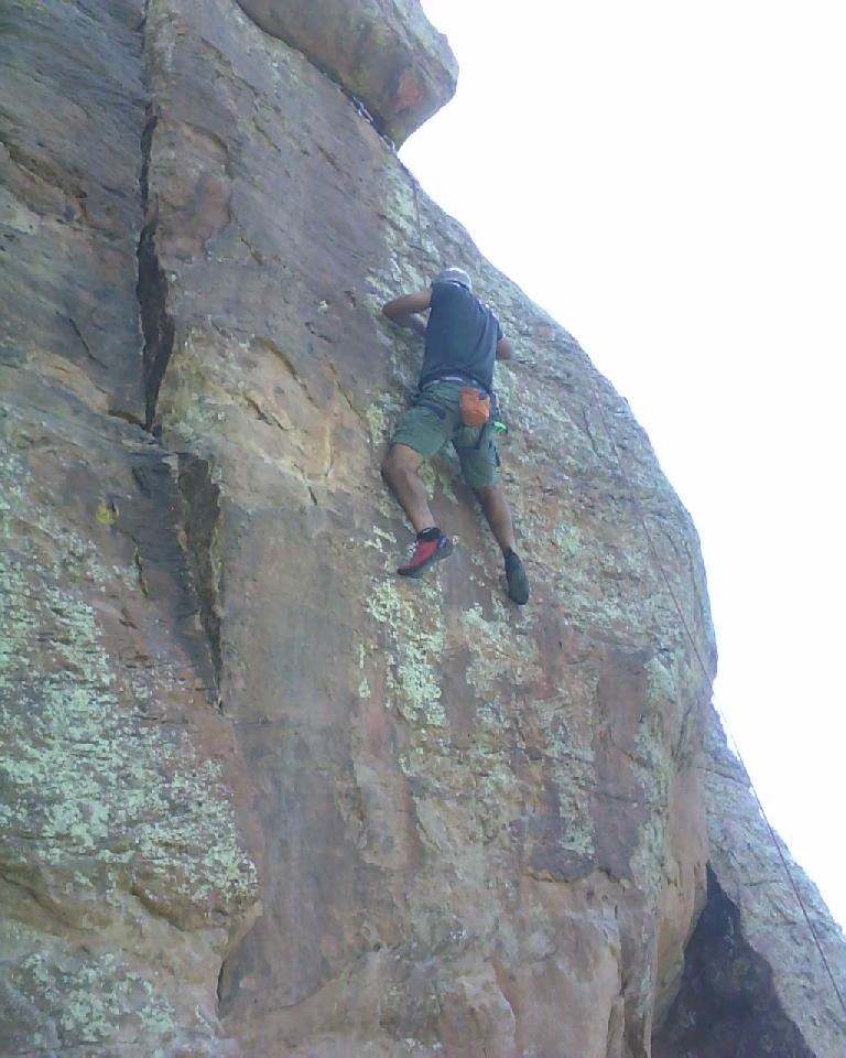 Mehdi climbing a 5.10 at Rotary Park. (July 15, 2012)
