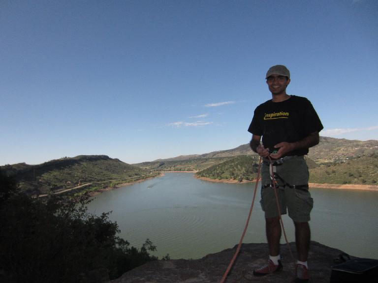 Mehdi belaying at Duncan's Ridge.