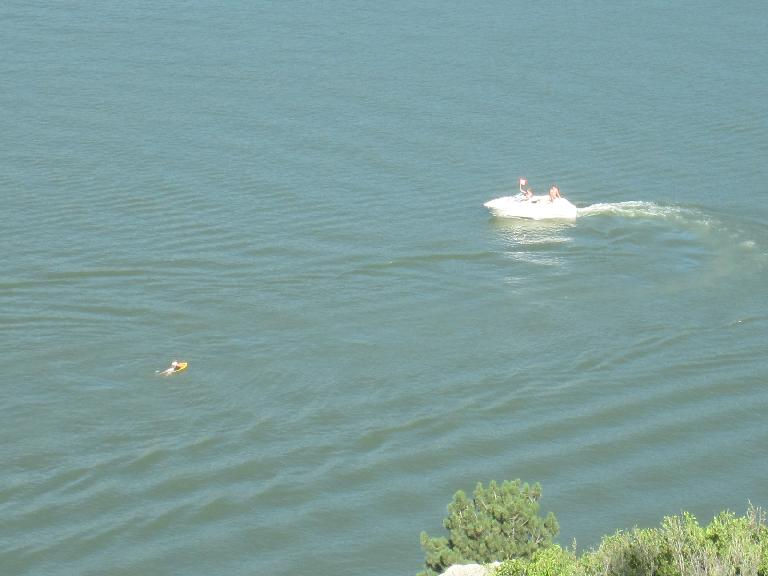Powerboat pulling a waterskier.