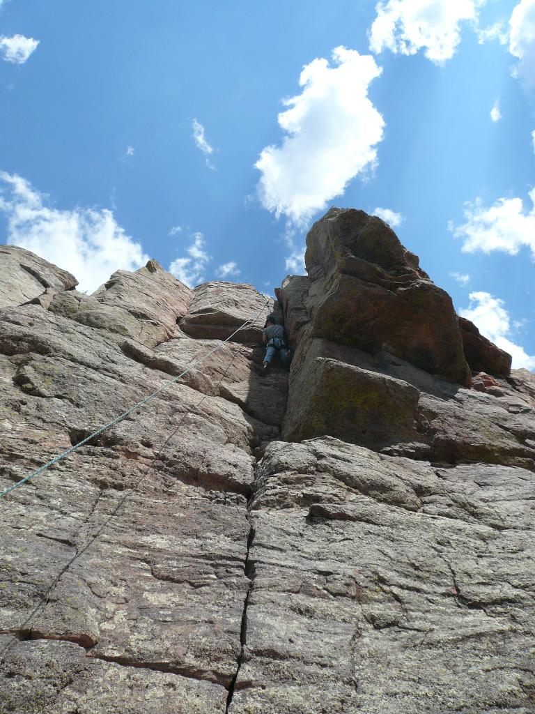 Felix Wong at the top of the 5.7 climb.